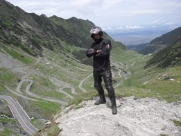 Jeof Thomas in a motorcycle tour